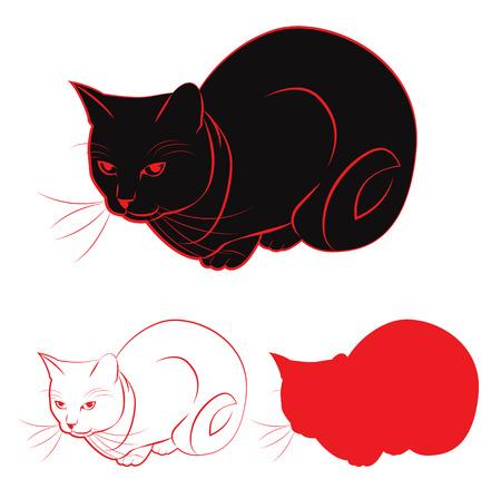 Satz von Konturen und Silhouetten Katze. Vektor-Illustration