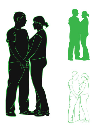 enamored: Set of contours and silhouettes. Enamored couple, man and pregnant woman. Vector illustration