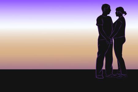 accordance: Silhouette of couple in love on the sunrise background. Vector illustration