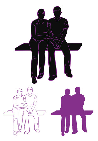 Set of silhouette and contour couple sitting on a bench. Vector illustration Vector