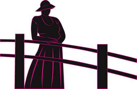 hand rails: Silhouette of a woman on the bridge in a vintage hat, hands folded on the rails. Vector illustration