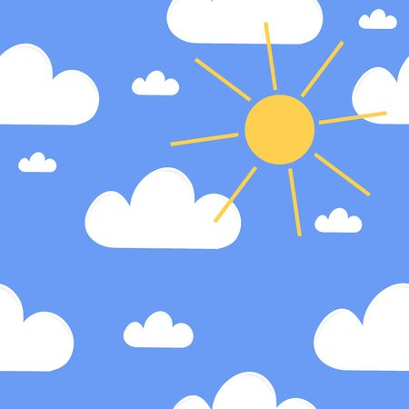 ร   ร   ร   ร  ร ยข  white clouds: Simple background, blue sky with white clouds and yellow sun.  Illustration