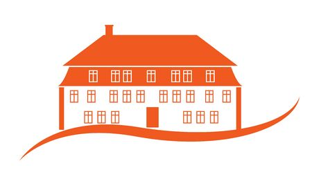apartment house: Bright orange apartment house with chimney. Vector illustration