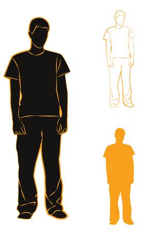 guy standing: Standing guy. Set silhouettes with orange stroke. Vector illustration Illustration