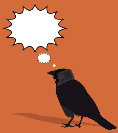 jackdaw: Tousled crow on a brown background with empty bubbles. Vector illustration