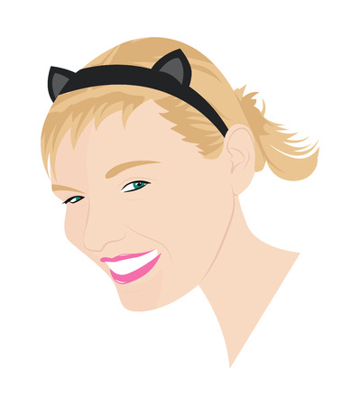 hairband: Portrait of a young girl with cat ears. Vector illustration