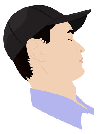 dozing: Portrait of man dozing in a baseball cap. Vector illustration