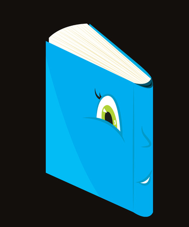 green eyes: Smiling blue cartoon book with green eyes. Vector illustration