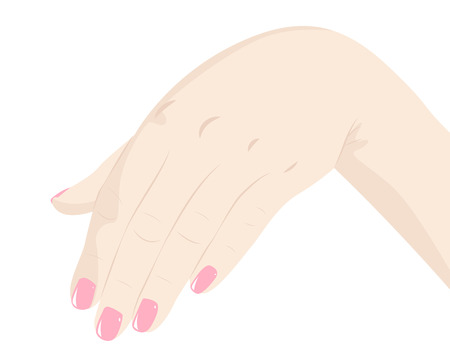neat: Female hand with a neat pink nail polish in a gesture of welcome for a kiss Illustration