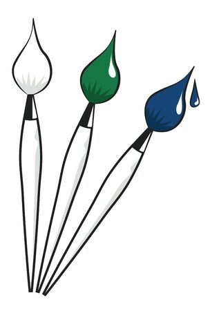 paint drop: Set of three brushes. Clean, with paint and with a drop of paint. Vector illustration