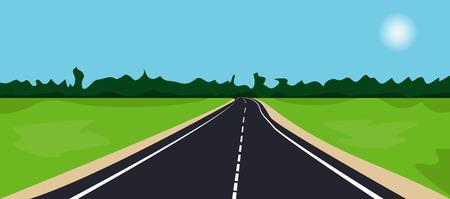 goes: The landscape with road. Black asphalt road goes into the distance. Vector illustration Illustration