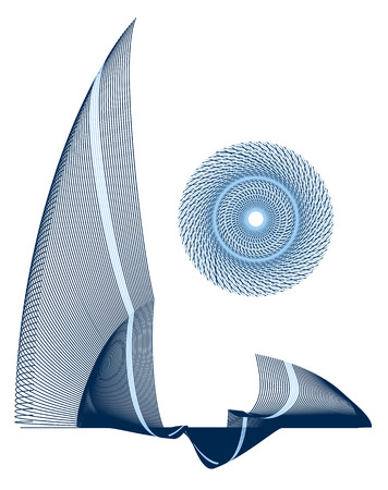 fine lines: Abstract emblem created from blue fine lines. Vector illustration