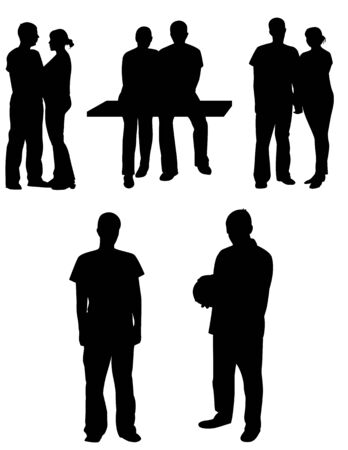 single man: A set of people silhouettes. Couples and single. Vector illustration