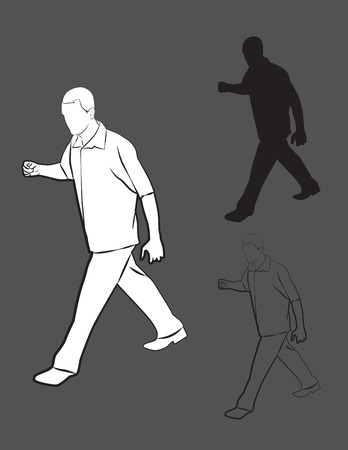 set going: Set of silhouette and contour of fast walking man. Vector illustration