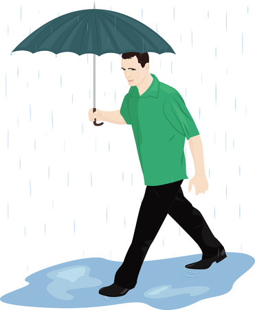 wet shirt: A man with an umbrella in the rain quickly goes through the puddles. Vector illustration