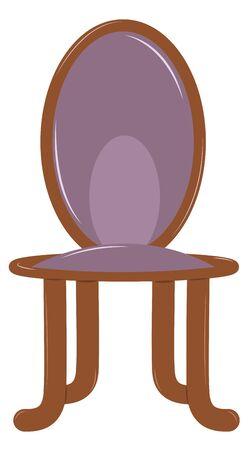 silla de madera: Silla de madera con la espalda suave y asiento. Tapicería púrpura. Ilustración vectorial