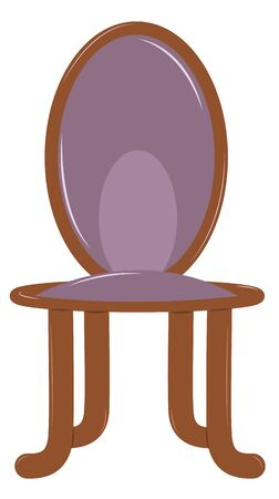 chair wooden: Wooden chair with soft back and seat. Purple upholstery. Vector illustration