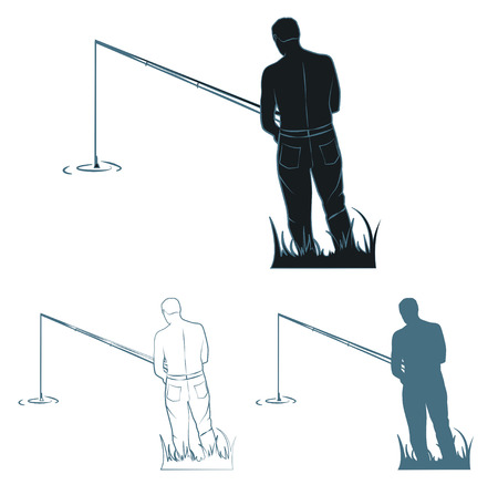 A fisherman with a fishing rod is in the thick grass. Silhouettes and contour. Vector illustration Illustration