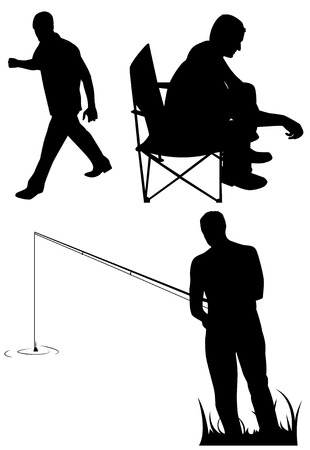 goes: Three silhouettes of men. Fast goes, sitting and fishing. Vector illustration