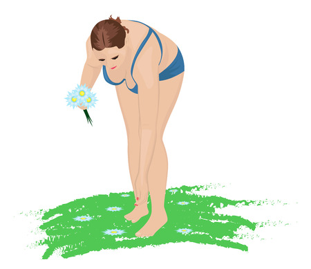 A pretty chubby girl in a blue bikini collects beautiful flowers. Vector illustration Illustration