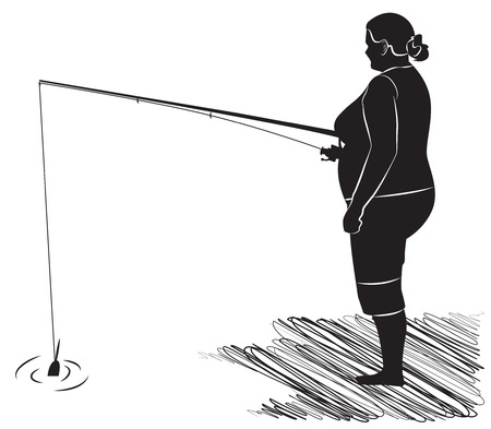Black and white picture. Fat fisherwoman fishing on the bank. Vector illustration