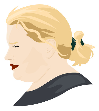 Portrait in profile of a tired fat woman. Vector illustration