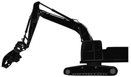 idraulico: Black silhouette of excavator with hydraulic crusher. Vector illustration Vettoriali