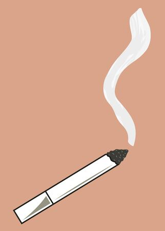 smoldering cigarette: Smoldering cigarette with a trickle of smoke. Vector illustration