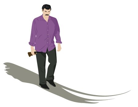 brigand: The man in trousers and a purple shirt goes and holding a gun. Vector illustration