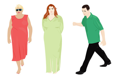 plump: Set of people. Fast going man and two women. Vector illustration Illustration