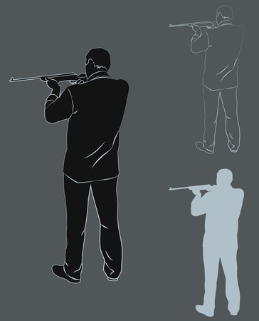 bandits: Set of contours and silhouettes of a man with a gun. Vector illustration
