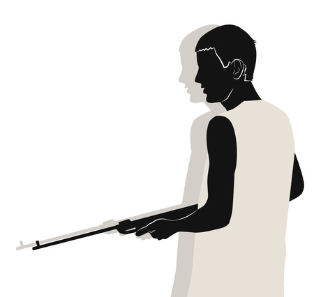 Young guy with a gun. Half length portrait in profile. Vector illustration 向量圖像