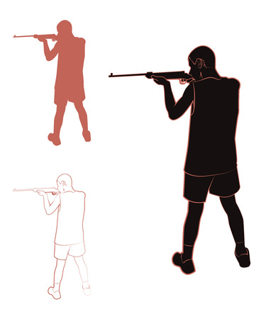 male killer: Set of contours and silhouettes of a guy with a gun. Vector illustration