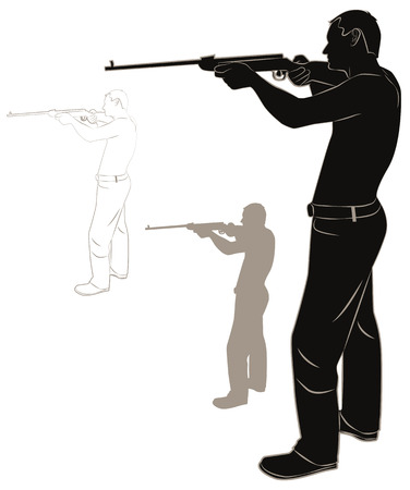 male killer: Set of contours and silhouettes of a man with a gun. Vector illustration