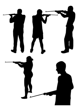 woman with gun: Set of silhouettes of people with gun, man and woman Vector illustration Illustration