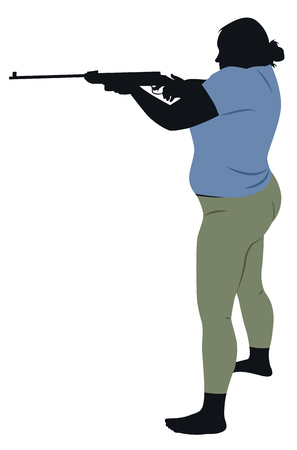 top gun: Fat girl with a gun, dressed in leggings and top. Vector illustration