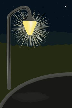 street lamp: Starry Night. One lighted street lamp. Vector illustration