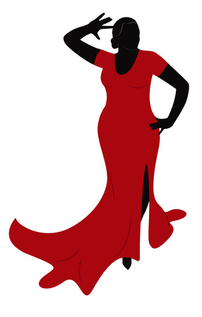 Chubby woman in a red dress dancing passionate dance. Vector illustration Illustration