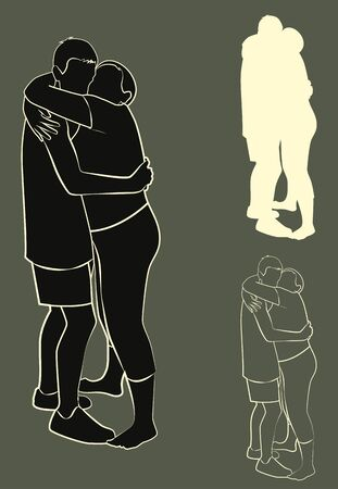 konturen: A set of contours and silhouette. Couple hugging. Vector illustration