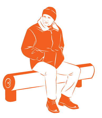 winter jacket: A man in a warm winter jacket freezes sitting on the bench, Vector illustration Illustration