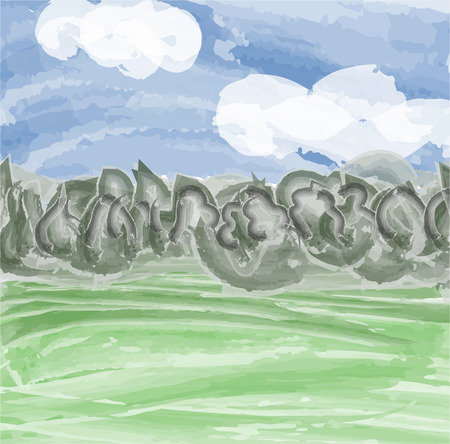 imitation: Natural landscape. Sky, forest and meadow. Vector illustration imitation watercolor