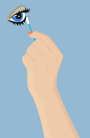 swab: Female hand with a cotton swab corrects eye makeup. Vector illustration Illustration
