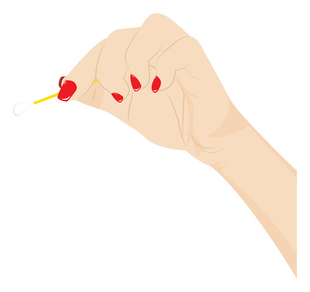 swab: Female hand with red manicure holds a cotton swab. Vector illustration