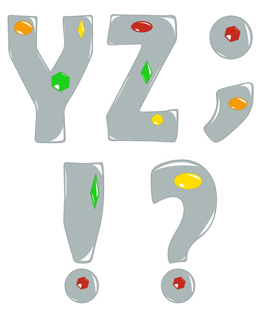 Part of alphabet, cartoon letters silver with gemstones. Vector illustration
