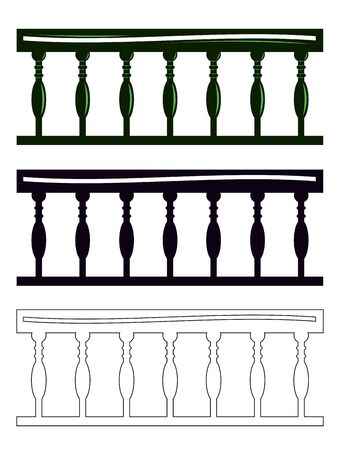 balustrade: Fragment of the balustrade and contour.  Illustration