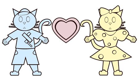 applique: Flat cats boy and girl in the style of applique.  Illustration