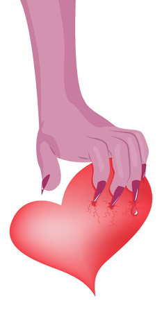 suffer: Monster hand with long claws grabbed the heart.  Illustration