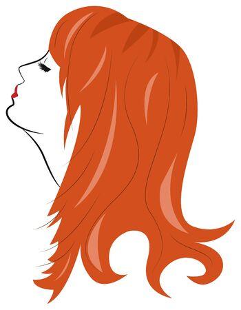 cabeza femenina: Bella joven de pelo rojo, ojos cerrados. Retrato de perfil. ilustración vectorial