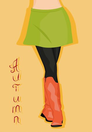 female legs: Female legs in red boots and a green skirt. Vector illustration