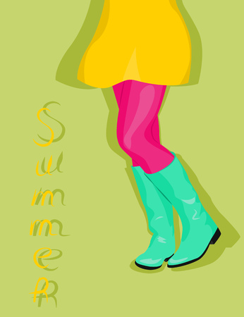 leggings: Female legs in turquoise boots and a yellow skirt. Vector illustration
